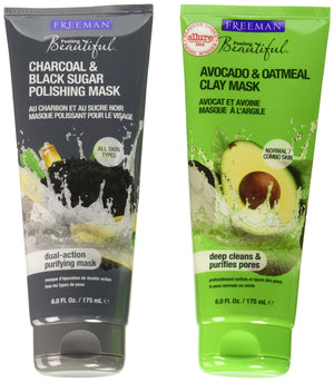 Freeman Beauty Avocado Clay Mask, Charcoal Mask and Scrub: 2 Pack