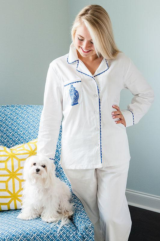 Ginger Jar White Sateen Full Pajama Set with Embroidery