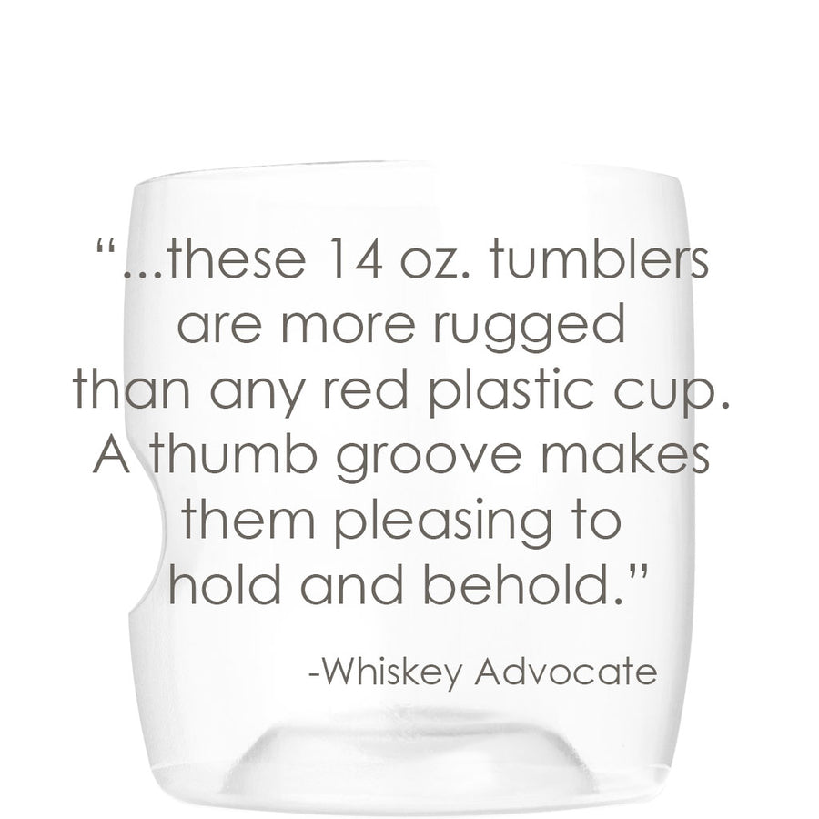 govino shatterproof 14-oz rcoks/whiskey glasses combine the elegance and functionality of crystal. Made in the USA.