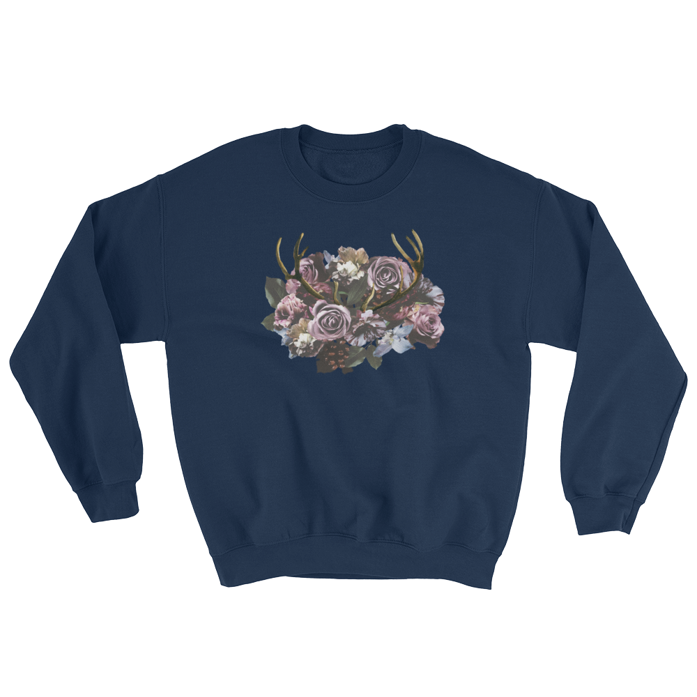 River Row Dark Floral with Antlers sweatshirt