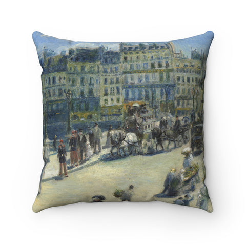 Faux Suede Square Pillow With Auguste Renoir Artwork - justafive.com