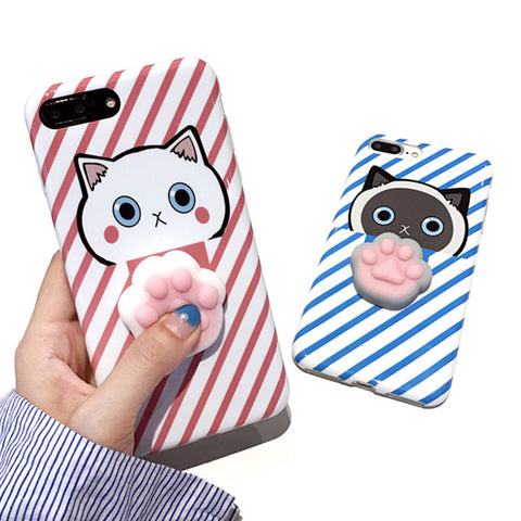 3D Cute Squishy Cat Phone Cases for iPhone 7 6 6S Plus - justafive.com