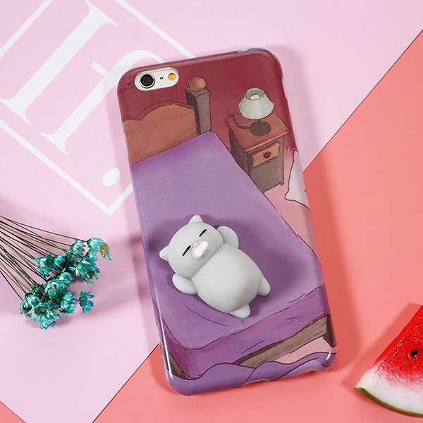 iPhone Case With 3D Cute Soft Silicone Squishy Cat - justafive.com
