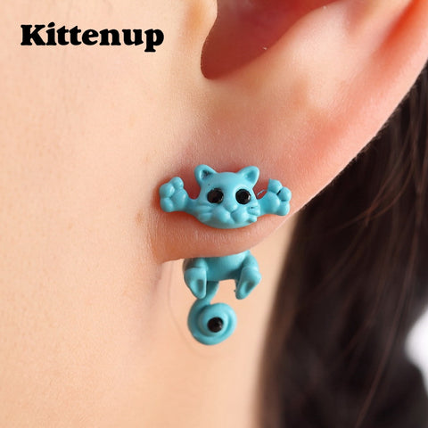 Kittenup Fashion Cute Cat Stud Earrings For Women and Girls - justafive.com