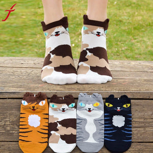Cute Cartoon Cat Socks Made From Cotton - justafive.com