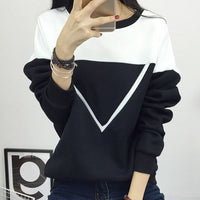 Women V Pattern Patchwork Hoodies Sweatshirt