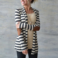 Women Long Sleeve Striped Printed Cardigan Sweaters