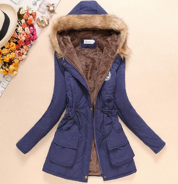 Women Slim Parka Cotton-Padded Down Jackets/Coat