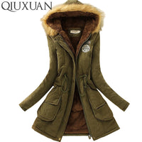 QIUXUAN Women Fur Collar Hoodies Parka Jacket