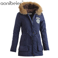 Aonibeier Women Fur Collar Long Hoodies Parka Jacket