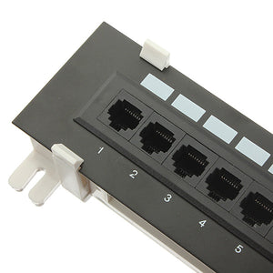 Universal 12 Port CAT5 CAT5E Patch Panel RJ45 Networking Wall Mount Rack Mount Bracket