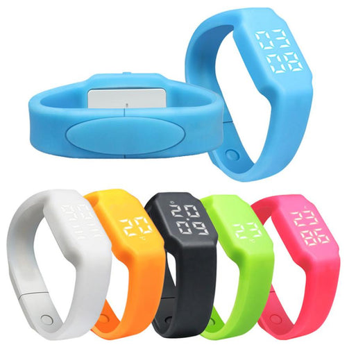 pedometer smartwatch in blue white orange black green and pink