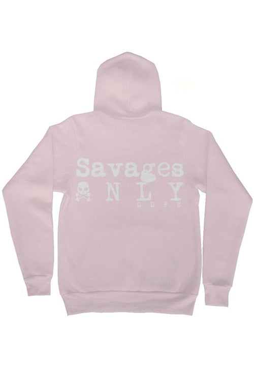 'Savages ONLY' Unisex Light Pink Zip Hoodie - Doomsday Fitness Apparel by Doomsday Fitness Experience