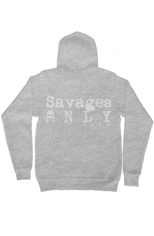 'Savages ONLY' Unisex Grey Zip Hoodie - Doomsday Fitness Apparel by Doomsday Fitness Experience