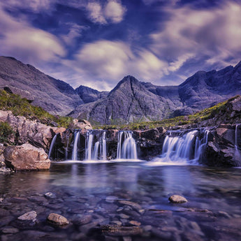Waterfall and Purple Mountain
