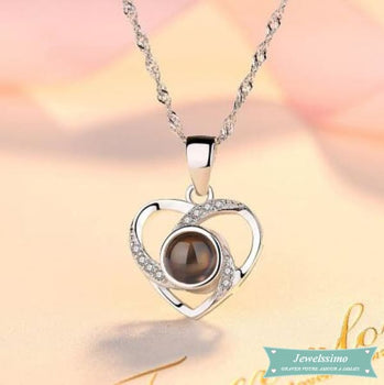 Collier couple Je taime en 100 langues en argent 925 Coeur Couple