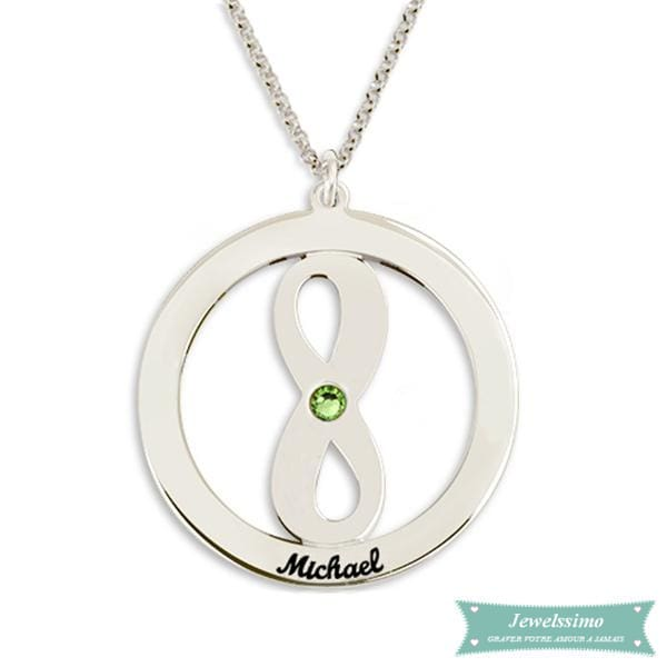 Collier Infini Rond En Argent Sterling 925 Infini