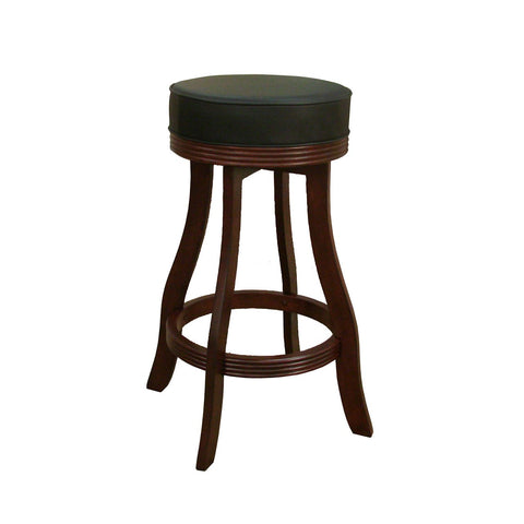 American Heritage Designer Bar Stool in English Tudor w/ Black Vinyl