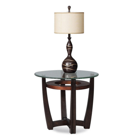Bassett T1078-220/076 Elation Round Glass Top End Table