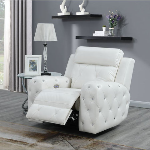 Global Furniture USA Jewel Embellished White Power Recliner