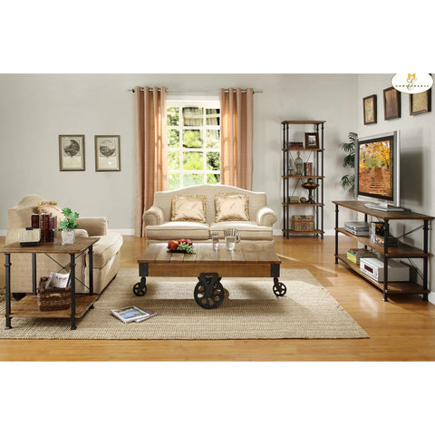 Homelegance Factory 4 Piece Rectangular Coffee Table Set w/ Iron Base