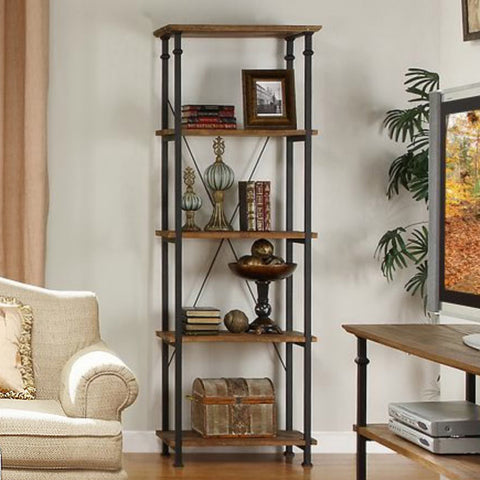 Homelegance Factory 75 Inch Bookcase w/ Wrought Iron Base