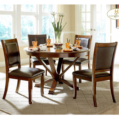 Homelegance Helena 3 Piece Round Dining Room Set in Cherry