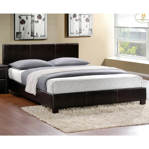 Homelegance Zoey Upholstered Platform Bed in Dark Brown Bi-Cast Vinyl