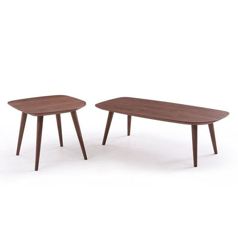 J&M Furniture Downtown 2 Piece Coffee Table Set in Walnut