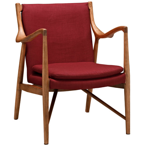 Modway Makeshift Upholstered Lounge Chair In Maple And Red