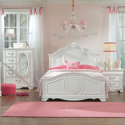 Standard Furniture Jessica 3 Piece Kids' Panel Bedroom Set in White