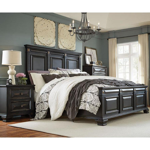 Standard Furniture Passages 3 Piece Panel Bedroom Set w/Chest in Black