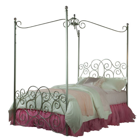 Standard Furniture Princess Canopy Bed in Silver Metal