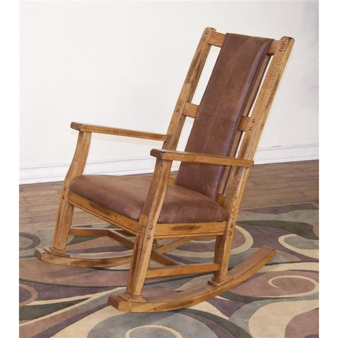 Sunny Designs Rocker with Cushion Seat & Back In Rustic Oak