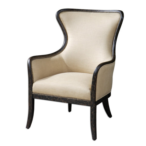 Uttermost Zander Wing Chair in Light Tan Linen