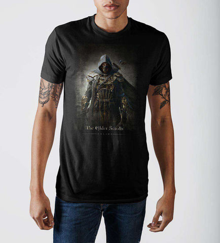 Elder Scrolls Archer Character Black Graphic Print T-shirt