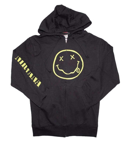 Men's Sweatshirts - Nirvana Smile Discharge Zip Hoodie Sweatshirt