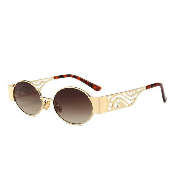 Retro Oval Sunglasses Round Vintage Hollow Metal Frame