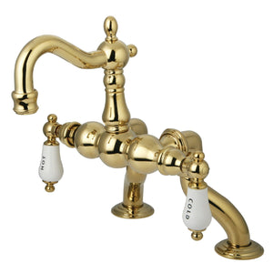 "Vintage 3-3/8"" - 10"" Adjustable Centers Deck-Mount 2-Hole Clawfoot Tub Filler Faucet w/Porcelain Lever, 7.0 gpm"