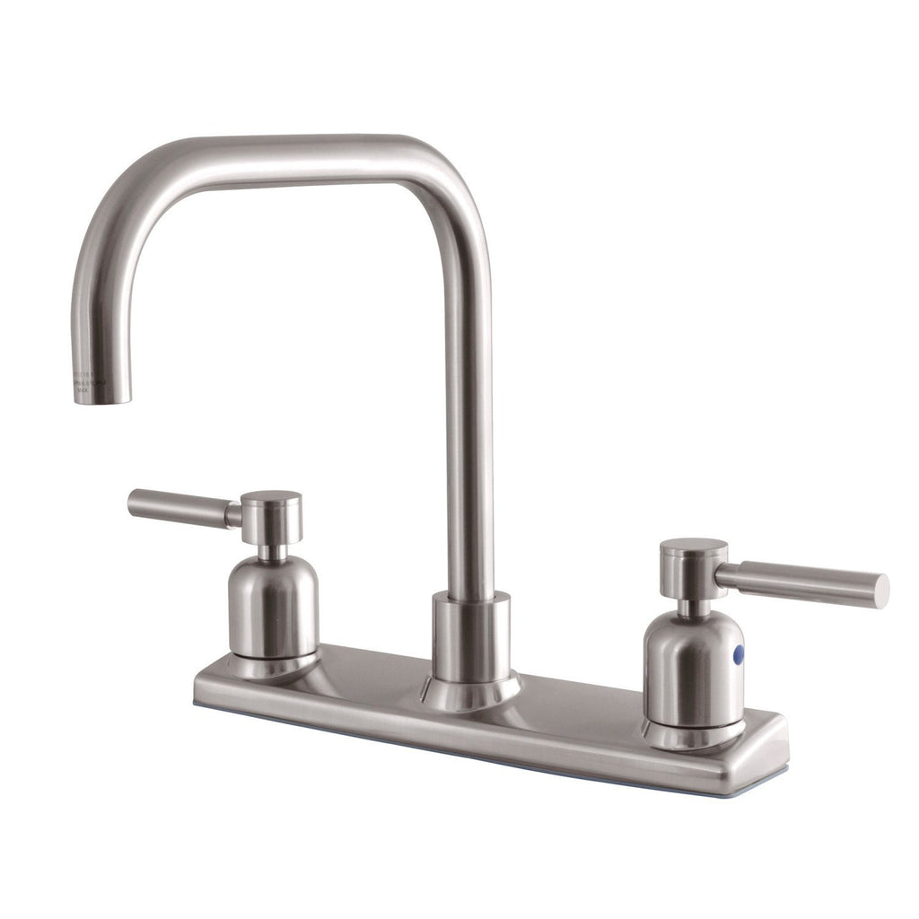 "Concord Two Handle 8"" Centerset 2-Hole Kitchen Faucet w/Metal Cross, 1.8 gpm"