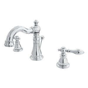 "American Classic Two Handle 8-16"" Widespread 3-Hole Bathroom Faucet w/Metal Lever - Includes Pop-Up Drain, 1.2 gpm"