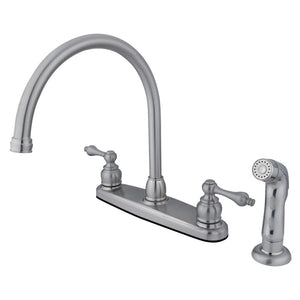 "Vintage Two Handle 8"" Centerset 4-Hole Kitchen Faucet w/Metal Lever and Side Spray, 1.8 gpm"