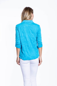 Crinkle Knit Women's Fashion Blouse with Rollup Sleeves - Cyan