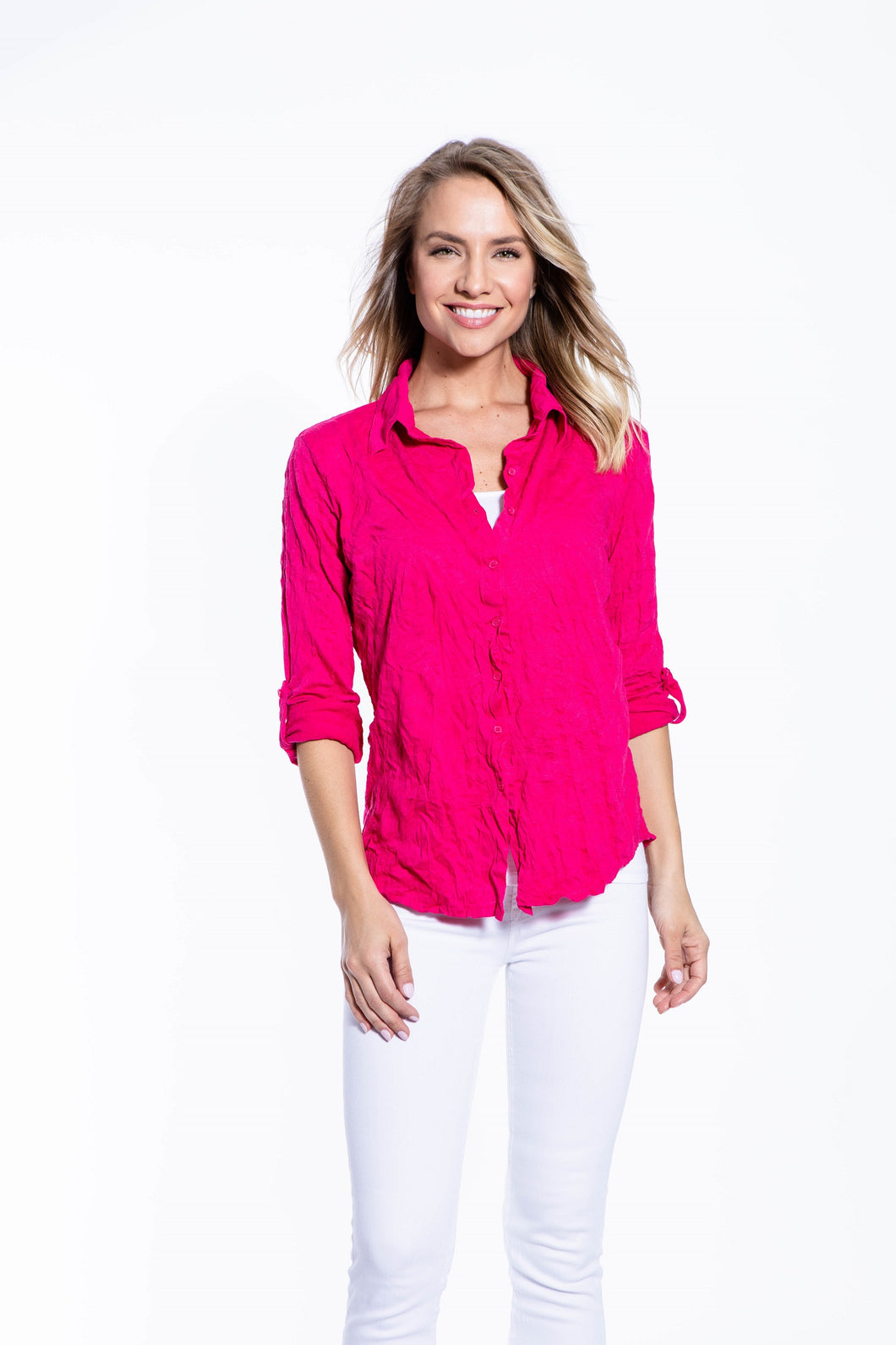 Crinkle Knit Women's Fashion Blouse with Rollup Sleeves - Hot Pink
