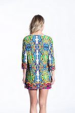 Crinkle Knit Women's Long Tunic Pullover, Transfer Print - Greece