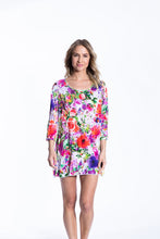 Crinkle Knit Women's Long Tunic Pullover, Transfer Print - Summer Flowers