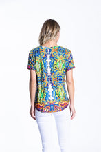 Crinkle Knit Women's Round Neck Short Sleeve Pullover Shirt, Transfer Print - Greece