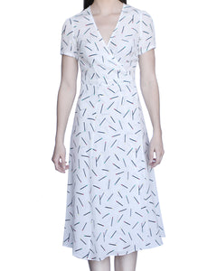 Cora 100% Silk Midi Dress, White-Matches - Ondululations womens silk dresses