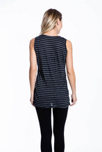 Crinkle Knit Women's Long Tank - Black/Gray