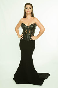 PVC Semi Transparent Bodice with fishtail skirt